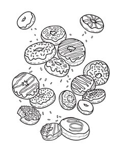 Sweet Donuts Coloring Pages. Donuts is a roll of lard made from yeast or sponge dough with a dark brown, cocoa-containing fat icing or, in the simplified, sligh Donut Coloring Page, Food Coloring Pages, Birthday Coloring Pages, Halloween Coloring Pages, Cartoon Coloring Pages, Printable Coloring Pages, Coloring Pages For Kids, Coloring Books, Free Adult Coloring