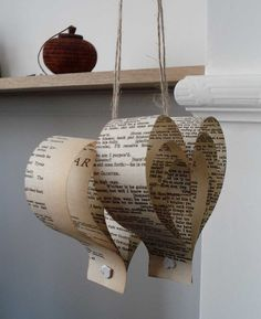 Wedding Decorations, 10 Paper Hearts, Shakespeare, Paper Decorations