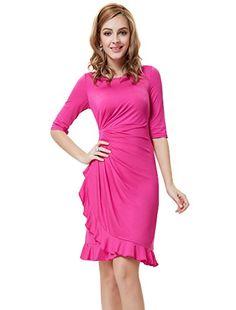 Ever Pretty Womens Half Sleeve Stretchy Semi Formal Dress 14 US Hot Pink ac5c41385