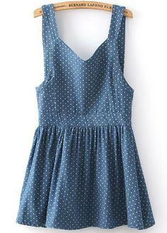 Vestido denim plisado lazo topos-azul.