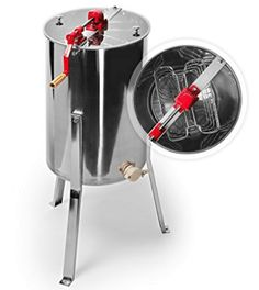 Honey Keeper™ Pro 2 Frame Stainless Steel Honey Extractor Beekeeping Equipment Honeycomb Drum > Drum is made from durable stainless steel Handles up to 2 standard deep, medium, or shallow frames Clear plastic lids for easy viewing