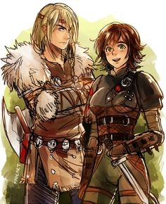 Gender bender of Hiccup and Astrid (I knoooow not Disney. But oh well. Disney Pixar, Film Disney, Arte Disney, Disney Fan Art, Disney And Dreamworks, Disney Animation, Gender Bent Disney, Disney Gender Bender, How To Train Dragon