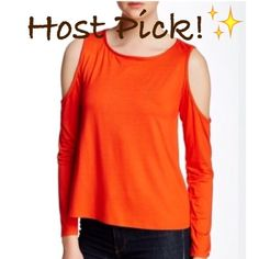 NWT Trina Turk Cold Shoulder Orange Top Tee NWT! Authentic Trina Turk cold shoulder top. Size Small. Fabric provides stretch, true to size. Please read the last pic for fabric details. Made in USA. Recommended for dry clean only. ***No Trades or PayPal*** Trina Turk Tops Tees - Long Sleeve