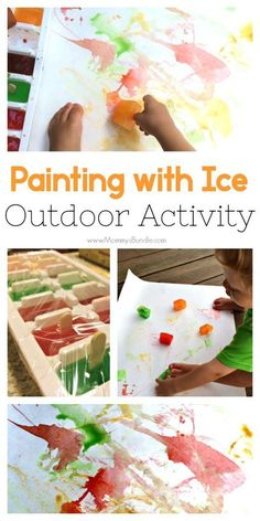 Let your toddler try a colorful, taste-safe painting with ice art activity! A fun way for kids to cool off outdoors this summer. #summerartforkids