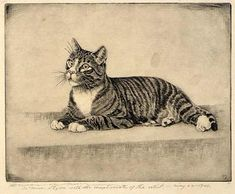 Tabby Cat, 1882, Benson B. Moore, etching and drypoint, 6 7/8 x 8 3/4 in. (17.5 x 22.2 cm), Smithsonian American Art Museum, Gift of Sade C. Styron, 1970.171