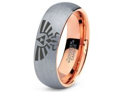 Legend of Zelda Tungsten Wedding Band Ring Mens Womens Domed Brushed 18K Rose Gold Fanatic Geek Anniversary Engagement ALL Sizes Available