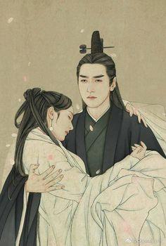 微博 Tree Illustration, Illustrations, Chibi, Eternal Love Drama, Chinese Drawings, Anime Love Couple, Peach Blossoms, China Art, Chinese Painting