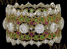 BUCCELLATI Diamond, Ruby and Emerald Wedding Band - Yafa Jewelry