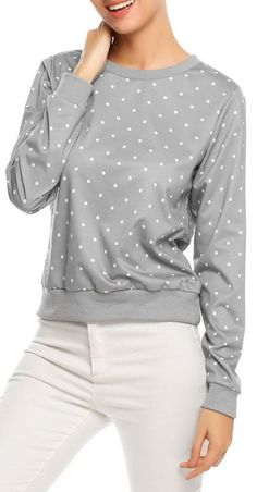 Light gray O-Neck Long Sleeve Polka Dot Sweatshirt