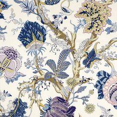 Indian Arbre Hyacinth 175781 by Schumacher Designer Fabric Schumacher-Classics Linen - Horizontal: 52 and Vertical: 46 52 - Swanky Fabrics - Drapery Fabric, Linen Fabric, Plaid Fabric, Curtains, Art Nouveau, Custom Roman Shades, Color Style, Photoshop, Motif Floral