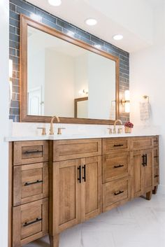 Bathroom Renos, Bathroom Renovations, Custom Bathroom Cabinets, Bathrooms Decor, Bath Cabinets, Bathroom Makeovers, Brown Bathroom, Small Bathroom, Rustic Master Bathroom