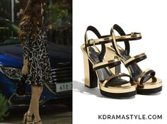Moo Ra(Krystal 크리스탈) wears a black and gold sandals with chunky heels in Episode 12 of Bride of the Water God. They aretheSalvatore FerragamoSpectator Sandal 01M753671857. Get themHERE for $895. Available from: Salvatore Ferragamo– $895  See more of Krystal's...