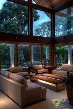 Casa de Campo Quinta do Lago - Tarauata: Salas de estar campestres por Olaa Arquitetos Dream Home Design, Modern House Design, My Dream Home, Home Interior Design, Interior Architecture, Small House Design, Modern Interior, Exterior Design, Interior Decorating