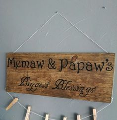 Wood Sign For Grandparents Memaw & Pepaw's by LivingFree100