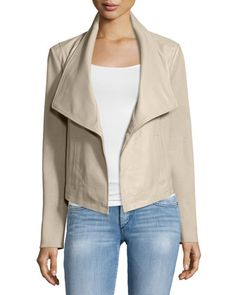 Bagatelle | Leather Jacket with Knit Sleeves | $295 | Neiman Marcus