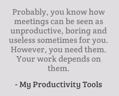 Meetings and Productivity