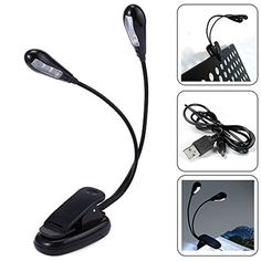 YouOKLight USB Rechargeable LED Reading Lamp Modern Stylish Flexible Dual Arm 8 LED Clip Desk Light Book-reading Laptop Stand Lamp -- Awesome products selected by Anna Churchill