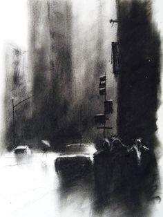 New York. Charcoal by Borja Cantos. http://borjacantos.blogspot.com.es/  @BorjaC3172