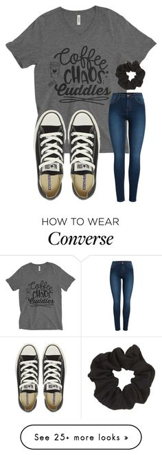 """coffee. "" by emi-elephant on Polyvore featuring Pieces, Converse and Topshop"