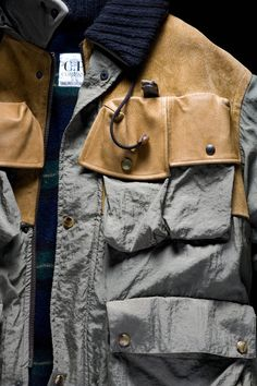"""Field Jacket in japanese wrinkled nylon with leather details, inspired by swiss army model. C.P. Company AW 1983/84. From the book """"Ideas from Massimo Osti"""". #fieldjacket #military #cpcompany"""