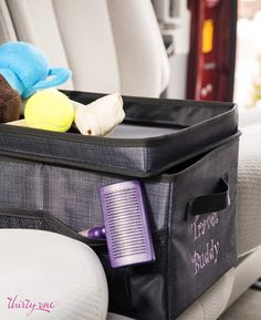 The Flip-Top Organizing Bin is perfect for your four legged kids too!