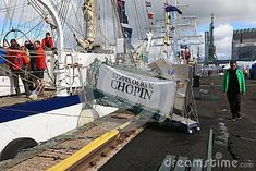 Polish brig Fryderyk Chopin. Gangway with the name of the ship. Time of the regatta THE TALL SHIPS RASES Kotka 2017. Kotka, Finland