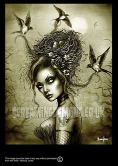 Bird Girl Art Print by Marcus Jones 115 x 8 by screamingdemons, $13.00    You can see the artists other work here:  http://www.etsy.com/shop/screamingdemons?ref=seller_info