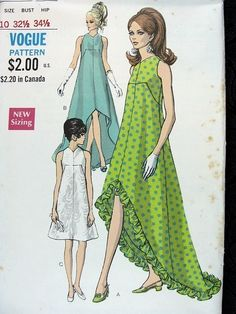 1960s UNIQUE EVENING DRESS PATTERN DRAMATIC HEMLINE, V NECKLINE, VOGUE SPECIAL DESIGN 7351