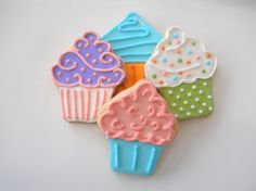 1 dzn Cupcake Sugar Cookies by TheHappyCaker on Etsy, $19.95