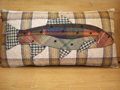Handmade salmon cushion