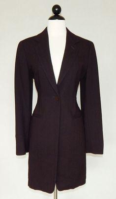 MAX MARA Classic Dark Brown Long Business Career Blazer Suit Jacket - Size 8 #MaxMara #Blazer