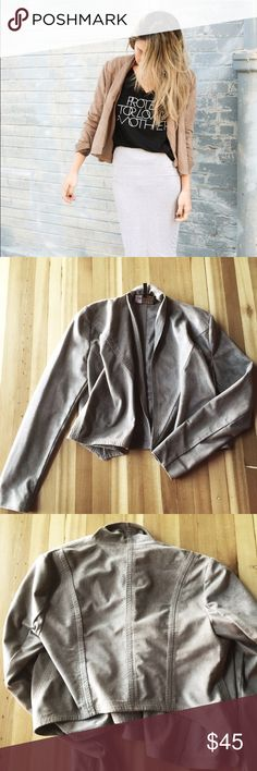"""BCBG MaxAzria crop jacket Crop drape-front jacket (drape makes it longer in front), suede feel, dry clean only, fabric underside arms is stretchy and has pilling from wear, color is mocha, measurements; front shoulder to bottom hem 19.5"""", back shoulder to bottom hem 16.5"""" BCBGMaxAzria Jackets & Coats"""