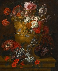 Jan Baptist Bosschaert Flowers in a Sculpted Urn 1713