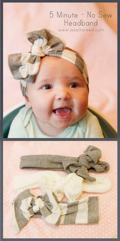 No-Sew Bow Headband  40 Homemade No-Sew DIY Baby and Toddler Gifts - http://diyforlife.com