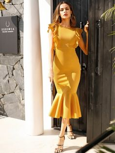 Ginger Solid Ruffle Trim Zipper Back Fishtail Dress Women Summer Cap Sleeve High Waist Flared Midi Dresses Size S Color Gold Satin Bodycon Dress, Satin Formal Dress, Ruffle Dress, Striped Dress, Peplum Dress, Ruffle Trim, Smock Dress, Ruffles, Mode Outfits