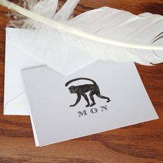 New to VeronicaFoleyDesign on Etsy: Monkey Custom Stationery Set of 10 - 300 Bespoke Stationery for Men 100% Cotton Savoy Graduation Thank You Note Card First Anniversary Gift (18.00 USD)