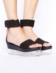 Pixie Market Tonya lucite wedges - Shop the latest Fashion Trends