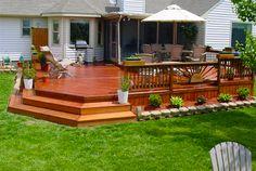 Decks Outdoor Patio Furniture Design Ideas - Modern - Greenhouses - columbus - by LilyAnn Cabinets Wood Deck Railing, Railing Design, Patio Design, Wood Patio, Garden Design, Railings, Exterior Design, Terrace Design, House Design