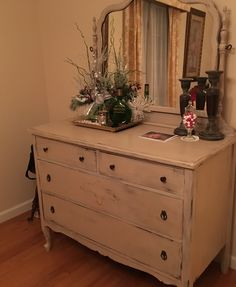 Painted furniture:   Remade antique dresser with my favorite mixture of Annie Sloan paints and Bam!!! Repurposed into a new dining room Buffet just in time for the holidays!