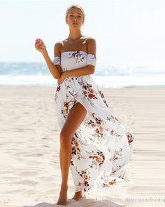 iRicheraf Women Off Shoulder Summer Bohemian Long Beach Dress Vintage Chiffon Maxi Asymmetry Split Dresses Vestidos De Festa Maxi Dress With Slit, White Maxi Dresses, Beach Dresses, Summer Dresses, Chiffon Dresses, Dress Beach, Summer Maxi, Summer Beach, Chiffon Maxi