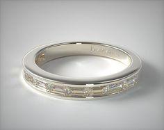 50121 wedding rings, womens diamond, 14k white gold baguette wedding ring item - Mobile