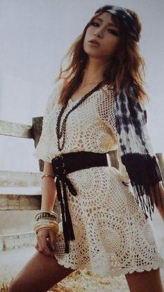 Crochetemoda: Crochet - Vestido Marfim