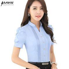 Moda Con Cuello En V manga corta delgada camisa de las mujeres OL Formal de Negocios puff manga blusa de la gasa señoras de la oficina más tamaño desgaste wor tops