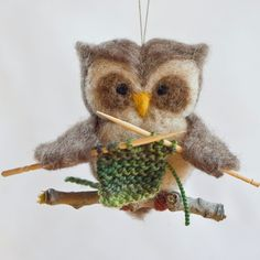Needle Felted Owl Ornament  Knitting by scratchcraft on Etsy, $24.00