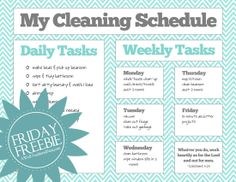 A Well-Feathered Nest: Weekly Cleaning Schedule - great template - change it to make it fit your lifestyle!