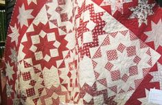 Red and white quilt.