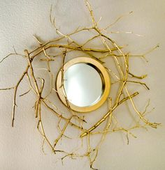 DIY Gold Branch Mirror DIY Mirror DIY Home DIY Decor, I have a clock that is really thick I've been trying to figure out how to revamp and I love this.