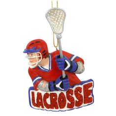 Lacrosse Boy With Word Ornament, even in our team colors!  Yay!