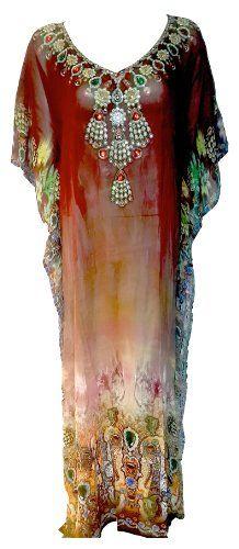 Barcelona Beachwear Women's Brown LONG Stone Emblished Neck Digital Print Kaftan. Amazon.