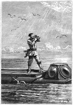 Illustration from Jules Verne's 'Twenty Thousand Leagues under the Sea' by Edouard Riou & Alphonse de Neuville, 1870.